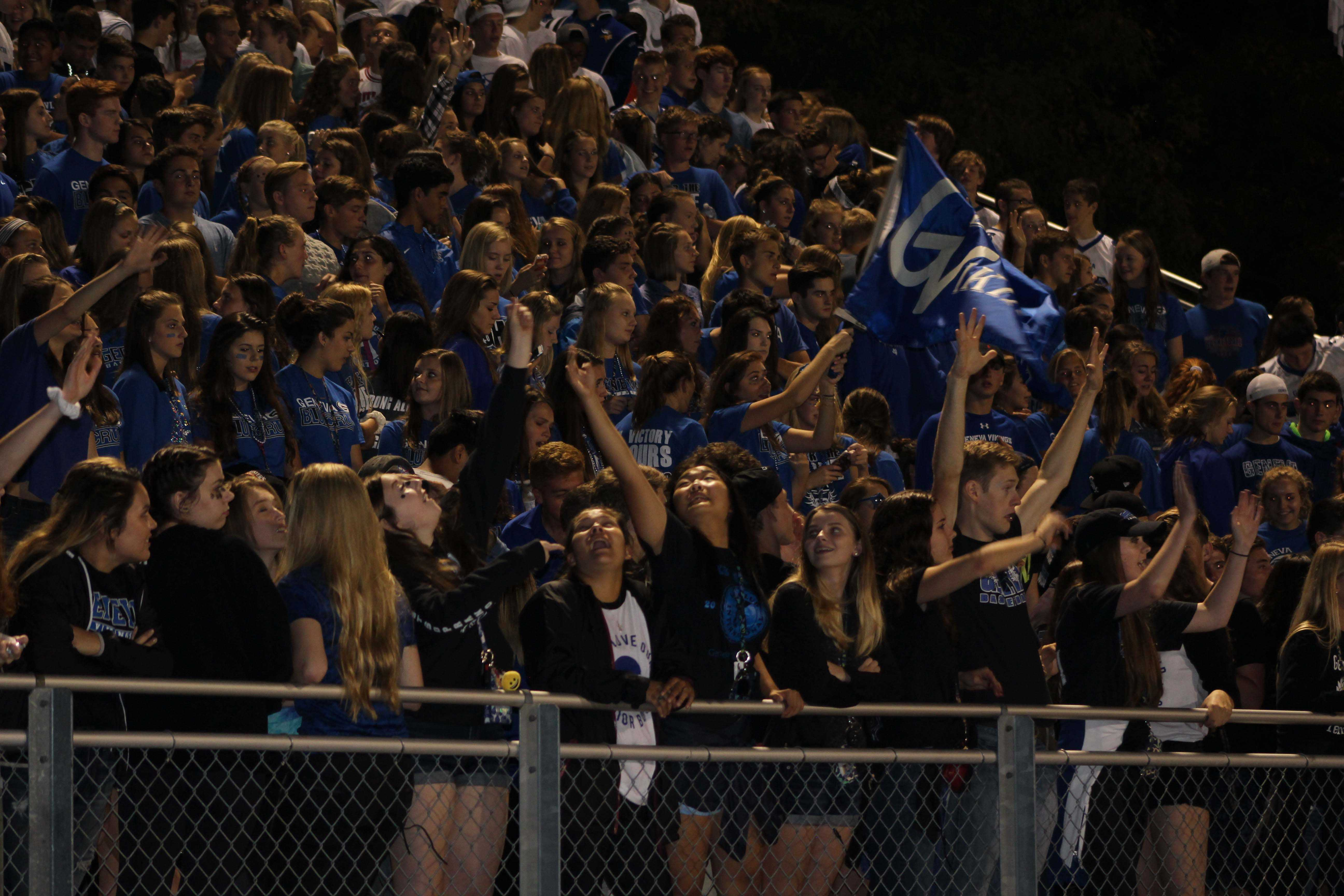 Geneva fan section at the 9/23 Homecoming game